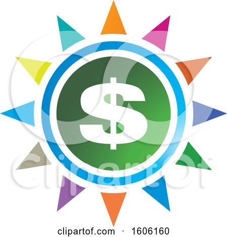 Clipart of a Dollar Sign and Colorful Sun or Flower - Royalty Free Vector Illustration by Lal Perera