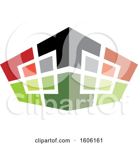 Clipart of a Building Made of Squares - Royalty Free Vector Illustration by Lal Perera