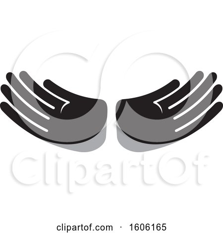 Clipart of a Grayscale Pair of Hands - Royalty Free Vector Illustration by Lal Perera