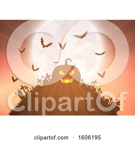 Clipart of a Halloween Jackolantern Pumpkin on Top of a Cemetery Hill, with Bats and a Full Moon - Royalty Free Vector Illustration by KJ Pargeter