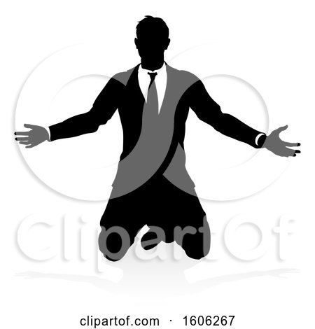 Clipart of a Silhouetted Business Man Kneeling, with a Reflection or Shadow, on a White Background - Royalty Free Vector Illustration by AtStockIllustration