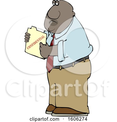 Clipart of a Cartoon Black Business Man Holding a Confidential File - Royalty Free Vector Illustration by djart