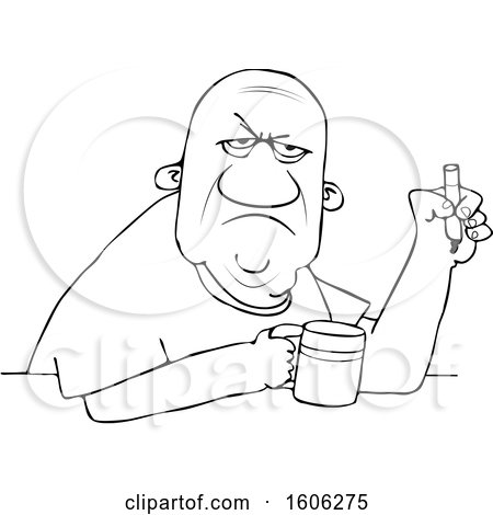 Clipart of a Cartoon Lineart Grumpy Old Black Man Smoking a Cigarette over Coffee - Royalty Free Vector Illustration by djart