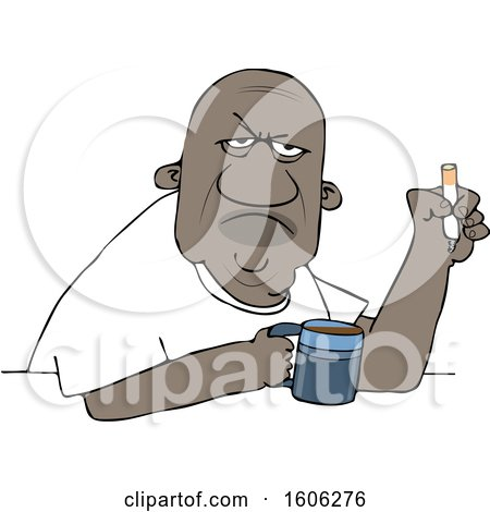 Clipart of a Grumpy Old Black Man Smoking a Cigarette over Coffee - Royalty Free Vector Illustration by djart