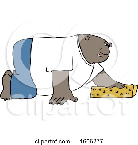 Clipart of a Cartoon Black Man Cleaning the Floor with a Sponge - Royalty Free Vector Illustration by djart