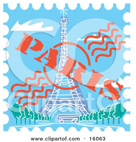 Postage Stamp With The Eiffel Tower In Paris, France Clipart Illustration by Andy Nortnik