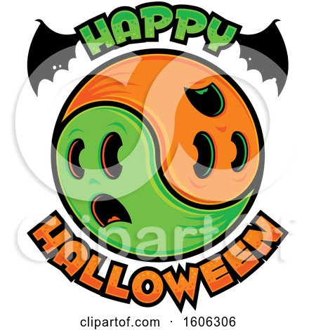Clipart of a Happy Halloween Greeting with Bat Wings and Yin Yang Ghosts - Royalty Free Vector Illustration by John Schwegel