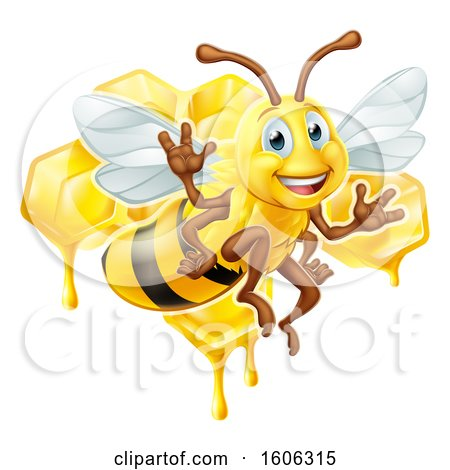 Clipart of a Happy Bee Flying over Honeycombs - Royalty Free Vector Illustration by AtStockIllustration
