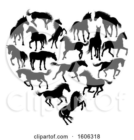 Clipart of a Heart Formed of Black Silhouetted Horses - Royalty Free Vector Illustration by AtStockIllustration