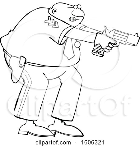 Clipart of a Cartoon Lineart Black Male Police Officer Aiming His Gun - Royalty Free Vector Illustration by djart