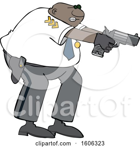 Clipart of a Cartoon Black Male Police Officer Aiming His Gun - Royalty Free Vector Illustration by djart