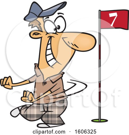 Clipart of a Cartoon White Man Doing a Happy Golf Dance - Royalty Free Vector Illustration by toonaday