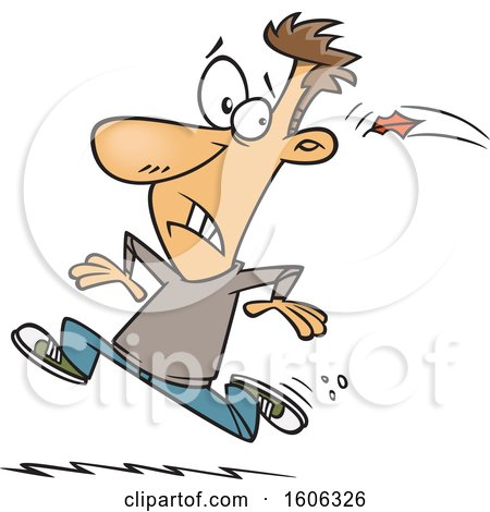 Clipart of a Cartoon White Man Running Away from the Inevitable Fall - Royalty Free Vector Illustration by toonaday