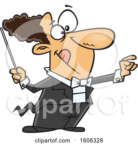 Clipart of a Cartoon White Male Maestro Music Conductor - Royalty Free Vector Illustration by toonaday
