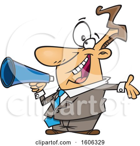Clipart of a Cartoon Enthusiastic White Business Man Marketing with a Megaphone - Royalty Free Vector Illustration by toonaday