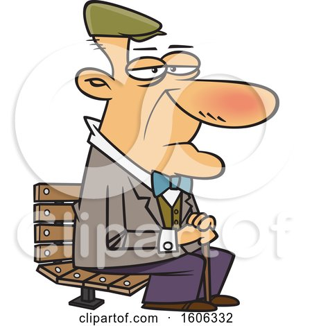 Clipart of a Cartoon White Senior Man Sitting on a Park Bench - Royalty Free Vector Illustration by toonaday