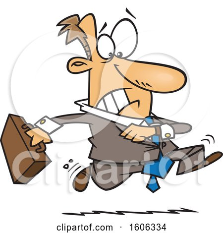 Clipart of a Cartoon Extremely Late White Business Man Running - Royalty Free Vector Illustration by toonaday