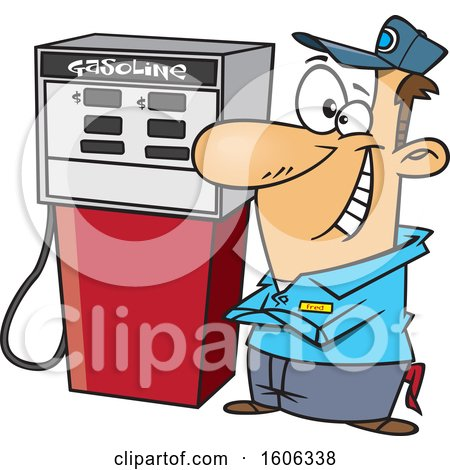 Clipart of a Cartoon Happy White Male Gas Station Pump Attendant - Royalty Free Vector Illustration by toonaday