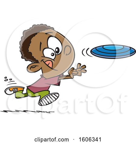 Clipart of a Cartoon Black Boy Chasing a Frisbee - Royalty Free Vector Illustration by toonaday