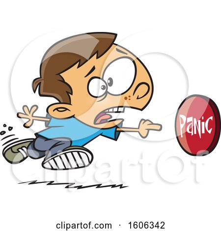 Clipart of a Cartoon White Boy Rushing to Push a Panic Button - Royalty Free Vector Illustration by toonaday