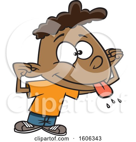 Clipart of a Cartoon Black Boy Making a Teasing Face - Royalty Free Vector Illustration by toonaday