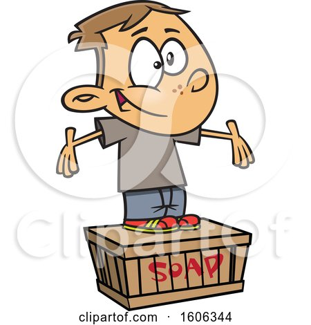 Clipart of a Cartoon White Boy Standing on a Soapbox - Royalty Free Vector Illustration by toonaday