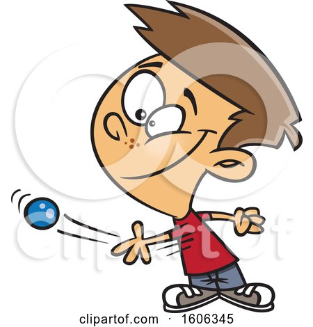 Clipart of a Cartoon White Boy Tossing a Ball - Royalty Free Vector Illustration by toonaday