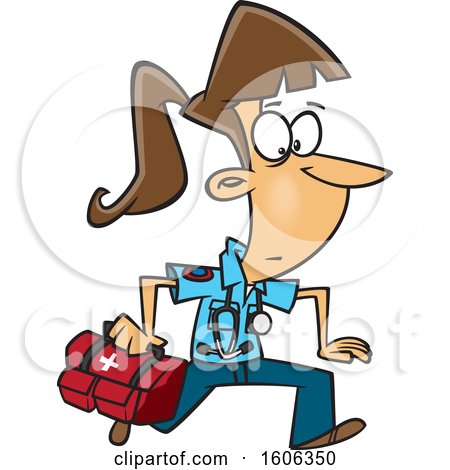 Clipart of a Cartoon Running White Female EMT with a First Aid Kit - Royalty Free Vector Illustration by toonaday