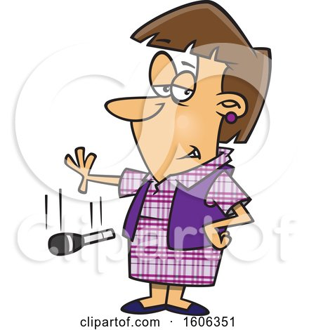 Clipart of a Cartoon White Woman Dropping the Mic - Royalty Free Vector Illustration by toonaday