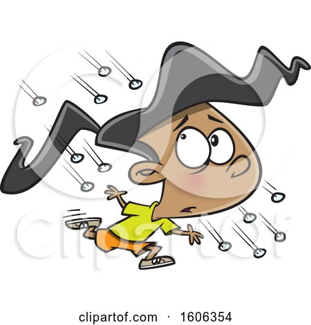 Clipart of a Cartoon Girl Running in a Hail Storm - Royalty Free Vector Illustration by toonaday