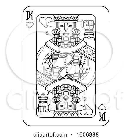 Clipart of a Black and White King of Hearts Playing Card - Royalty Free Vector Illustration by AtStockIllustration