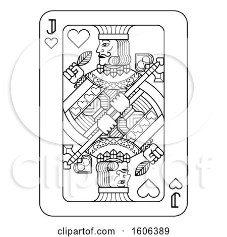 Clipart of a Black and White Jack of Hearts Playing Card - Royalty Free Vector Illustration by AtStockIllustration