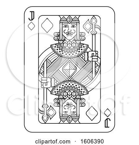 Clipart of a Black and White Jack of Diamonds Playing Card - Royalty Free Vector Illustration by AtStockIllustration