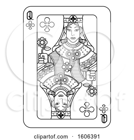 Clipart of a Black and White Queen of Clubs Playing Card - Royalty Free Vector Illustration by AtStockIllustration