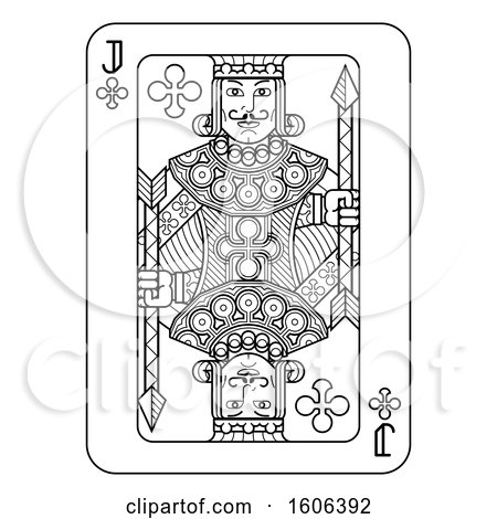 Clipart of a Black and White Jack of Clubs Playing Card - Royalty Free Vector Illustration by AtStockIllustration