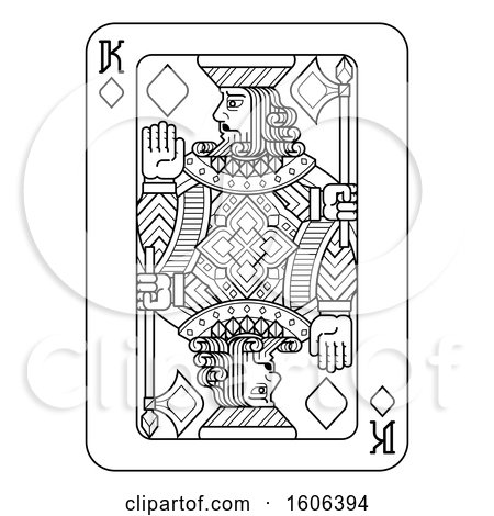 Clipart of a Black and White King of Diamonds Playing Card - Royalty Free Vector Illustration by AtStockIllustration