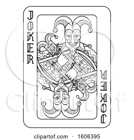 Clipart of a Black and White Joker Playing Card - Royalty Free Vector Illustration by AtStockIllustration