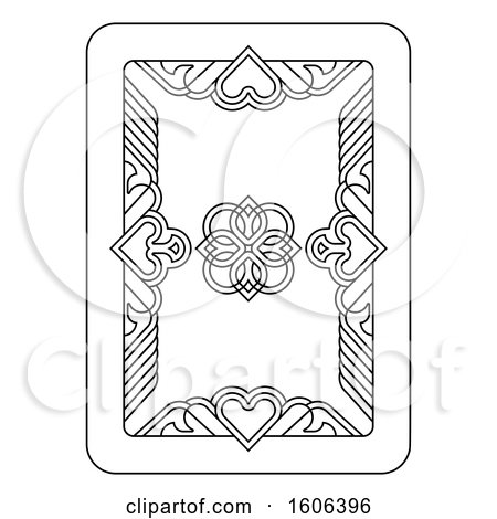 Clipart of a Black and White Playing Card - Royalty Free Vector Illustration by AtStockIllustration