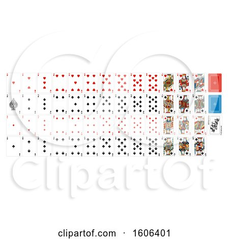 Clipart of a Deck Set of Playing Cards - Royalty Free Vector Illustration by AtStockIllustration
