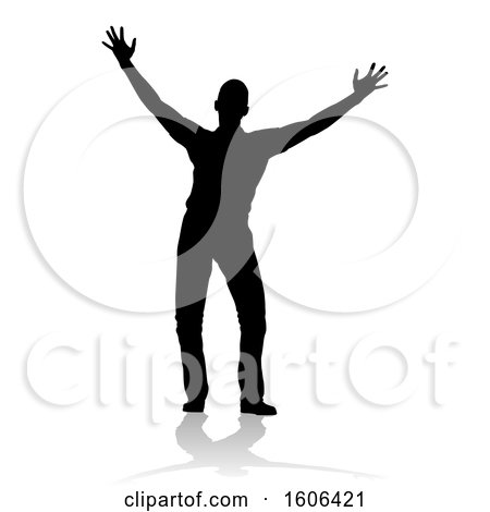 Clipart of a Silhouetted Man Holding His Arms up to the Sky, with a Reflection or Shadow, on a White Background - Royalty Free Vector Illustration by AtStockIllustration