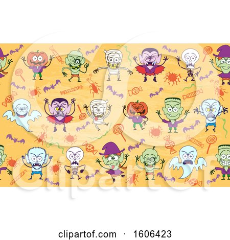 Clipart of a Seamless Halloween Pattern with Zombies Mummies Vampires, Skeletons Witches Ghosts Frankensteins and Jacks - Royalty Free Vector Illustration by Zooco