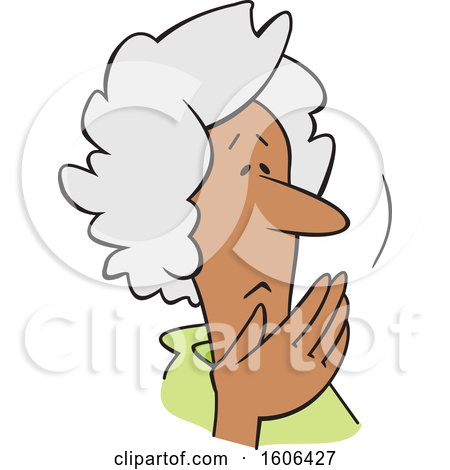 Clipart of a Cartoon Worried Senior Black Woman Covering Her Mouth, Oh My - Royalty Free Vector Illustration by Johnny Sajem