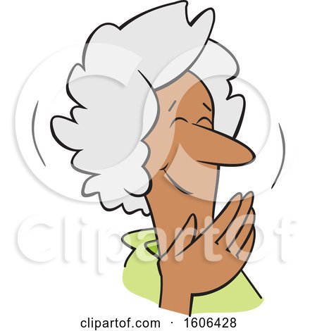 Clipart of a Cartoon Senior Black Woman Covering Her Mouth and Laughing - Royalty Free Vector Illustration by Johnny Sajem