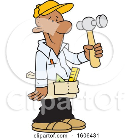 Clipart of a Cartoon Black Male Carpenter Holding a Hammer - Royalty Free Vector Illustration by Johnny Sajem