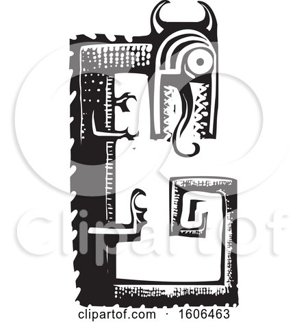 Clipart of a Dragon, Fafnir, Black and White Woodcut - Royalty Free Vector Illustration by xunantunich