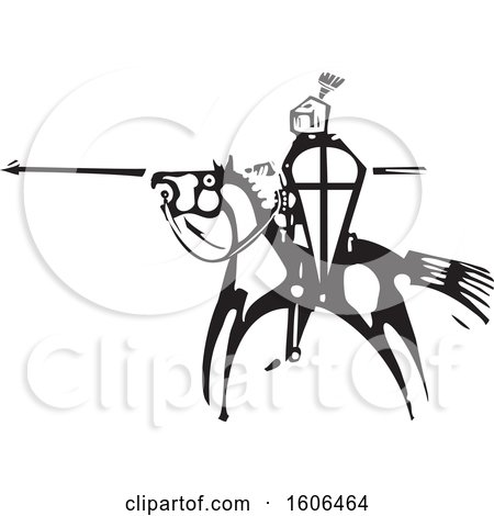 Clipart of a Horseback Knight, Holding a Shield and Spear, Black and White Woodcut - Royalty Free Vector Illustration by xunantunich