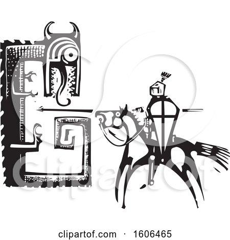 Clipart of a Horseback Knight, Sigurd, Slaying a Dragon, Fafnir, Black and White Woodcut - Royalty Free Vector Illustration by xunantunich