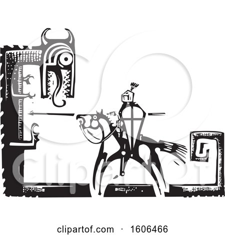 Clipart of a Horse Back Knight, Sigurd, Slaying the Dragon, Fafnir, Black and White Woodcut - Royalty Free Vector Illustration by xunantunich
