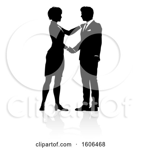 Clipart of a Black and White Silhouetted Business Man and Woman Shaking Hands, with a Reflection or Shadow - Royalty Free Vector Illustration by AtStockIllustration