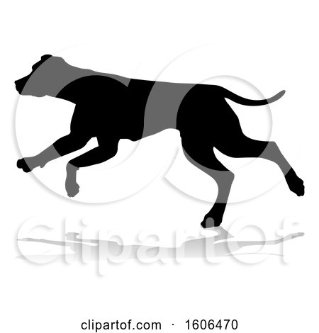 Clipart of a Silhouetted Dog, with a Reflection or Shadow, on a White Background - Royalty Free Vector Illustration by AtStockIllustration